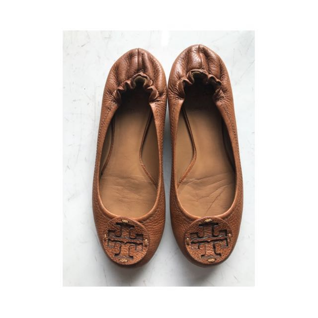 Authentic Tory Burch Reva Shoes Tan Brown size 5.5 (35.5-36)