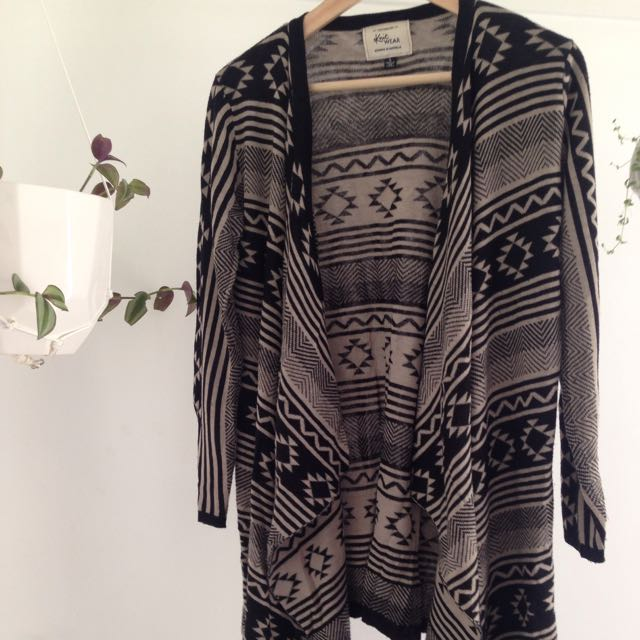 Aztec Print Long Knit Cardigan