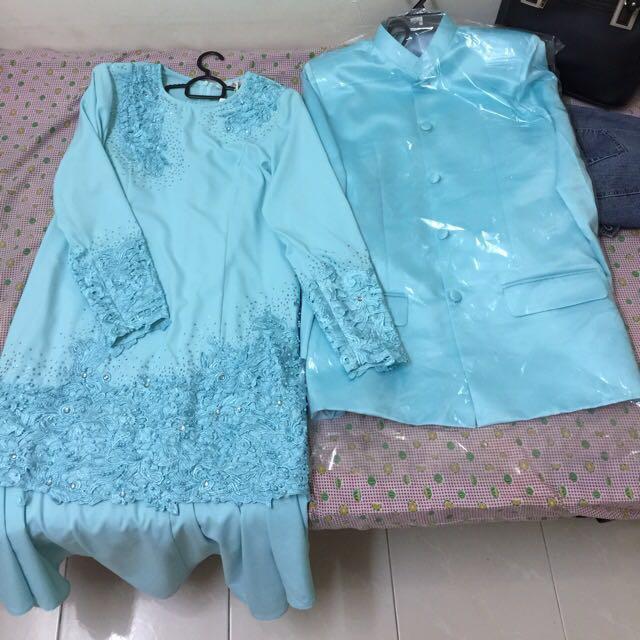 Baju Melayu Warna Biru Turquoise