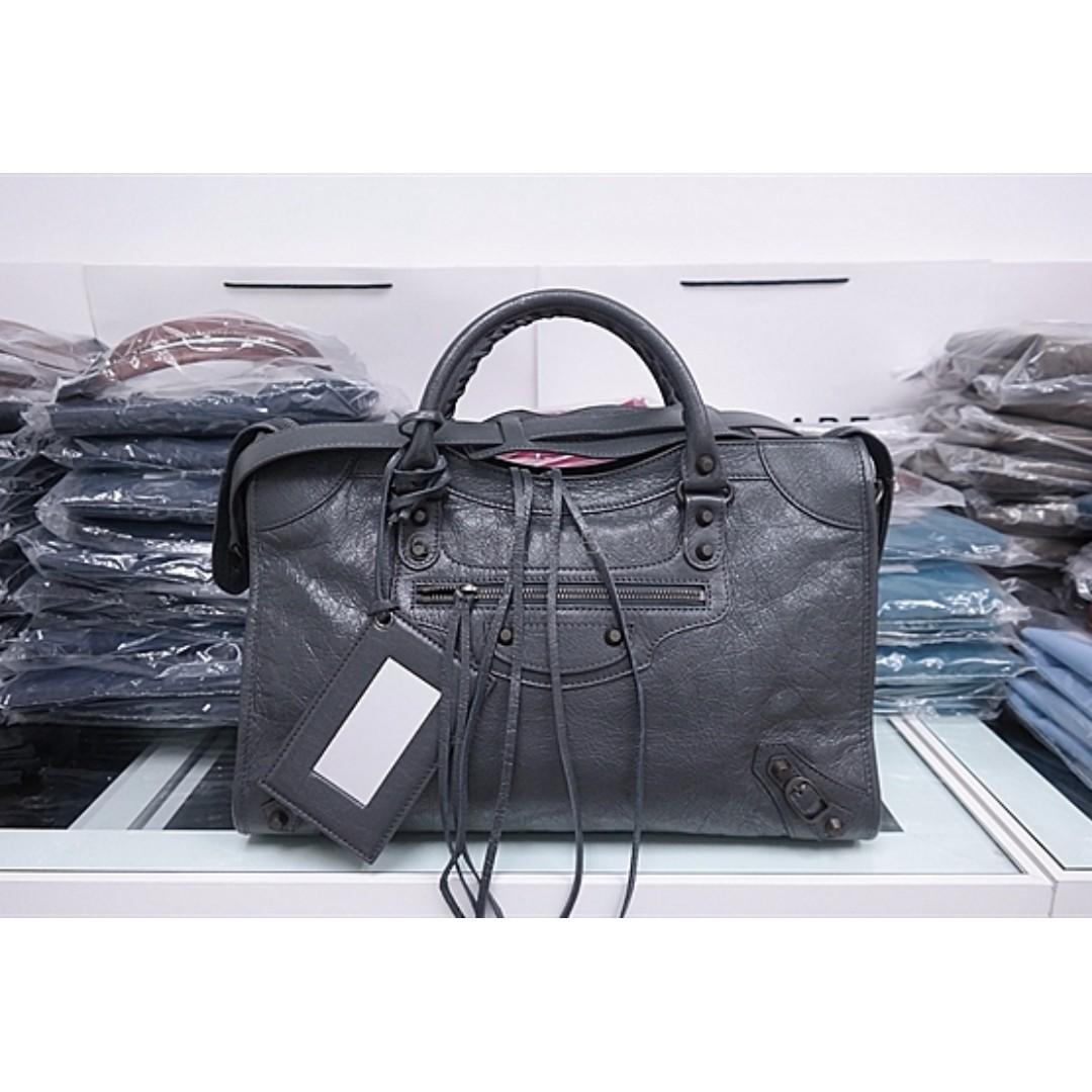 e06506860488 Balenciaga Classic City Anthracite(Dark Grey) Black Studs 115748 ...