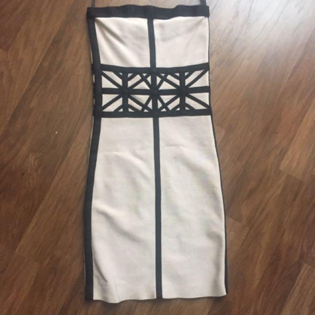 Bebe Nude & Black tube Bandage Dress