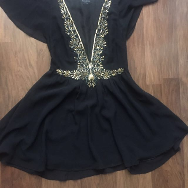Bebe Sheer Dress With Gold Sequins