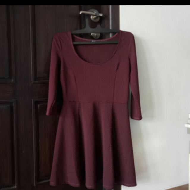 Bershka maroon dress