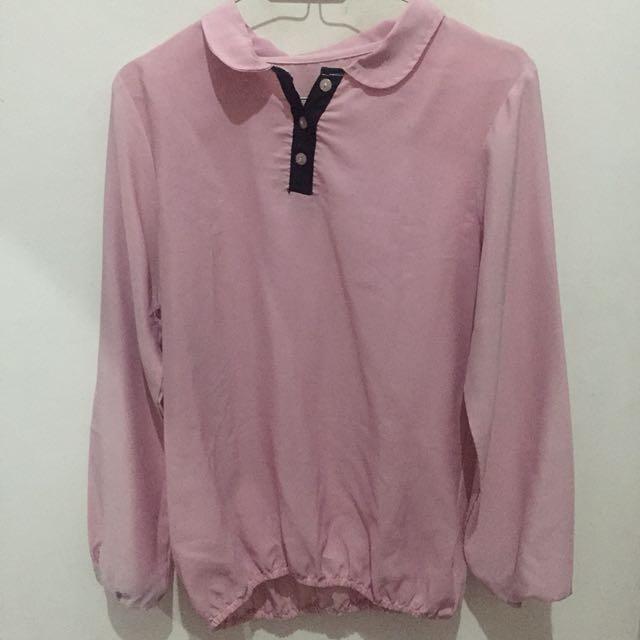Blouse atasan kemeja pink