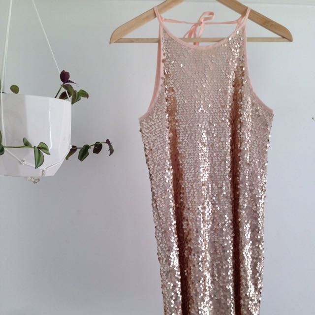 Blush Pink Sequin Dress Size 8
