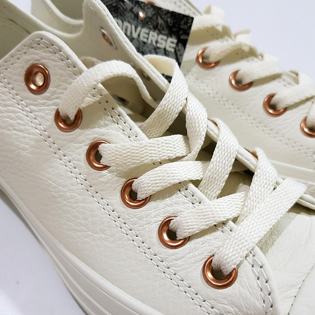 EXCLUSIVE Converse All Star Low Leather Egret Rose Gold Snake Exclusive 6ade1a0aa