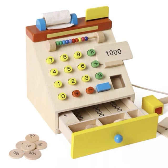 Brand new wooden cash register
