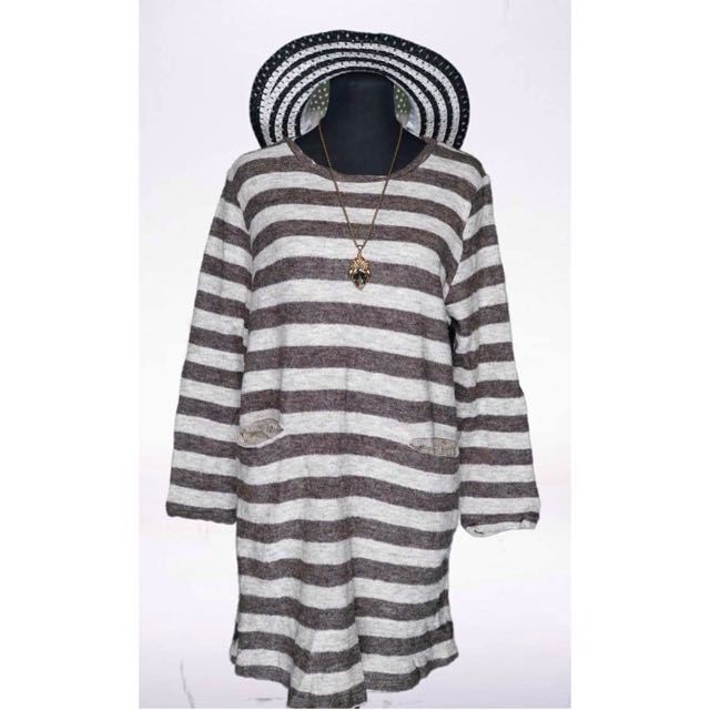 Brown Stripes Knit Dress