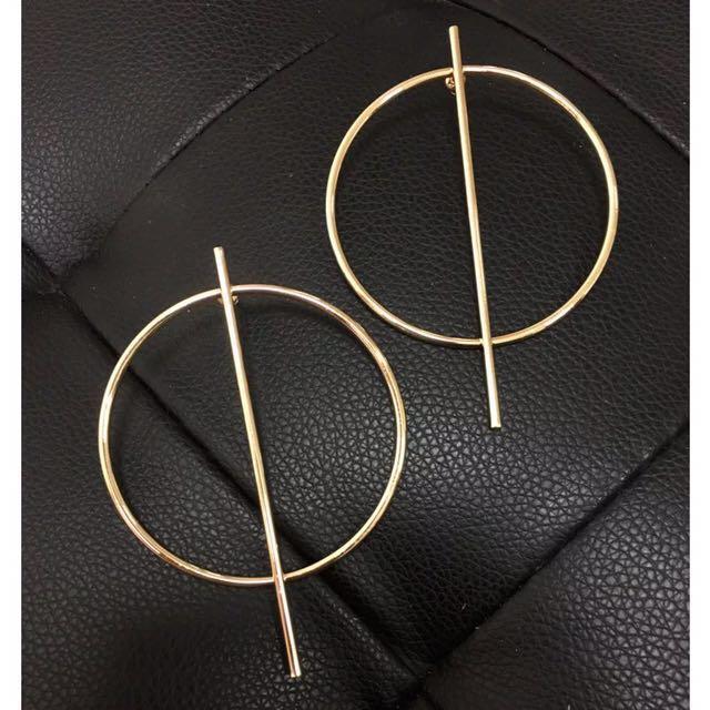 Circle Alloy Strip Earrings