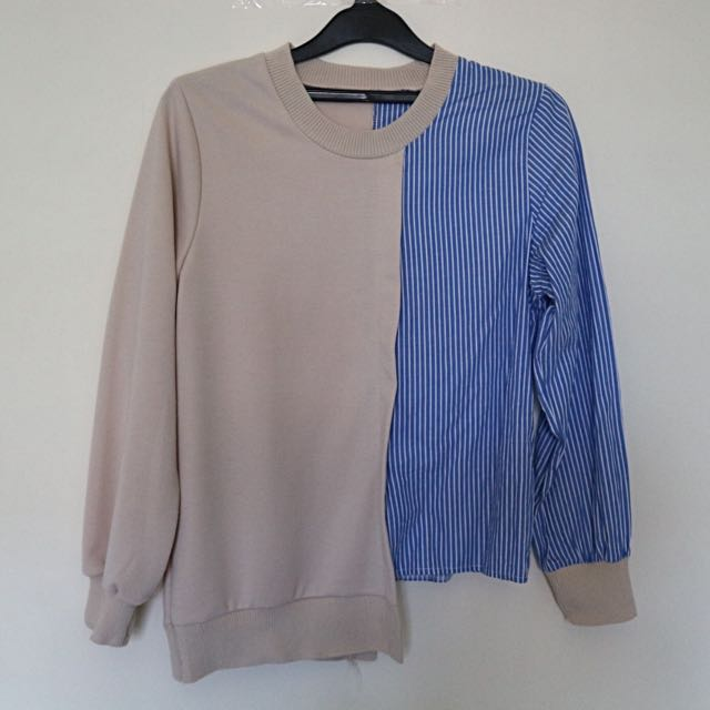 Creme and Blue Striped Blouse