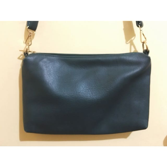 Dark Green Leather Sling Bag