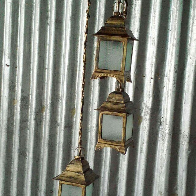 Drop light antique finish