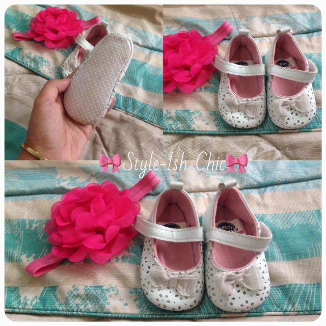🌸Enfant White Doll Shoes, 6mos