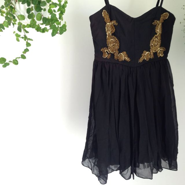 Gold Beaded Black Dress Size 8