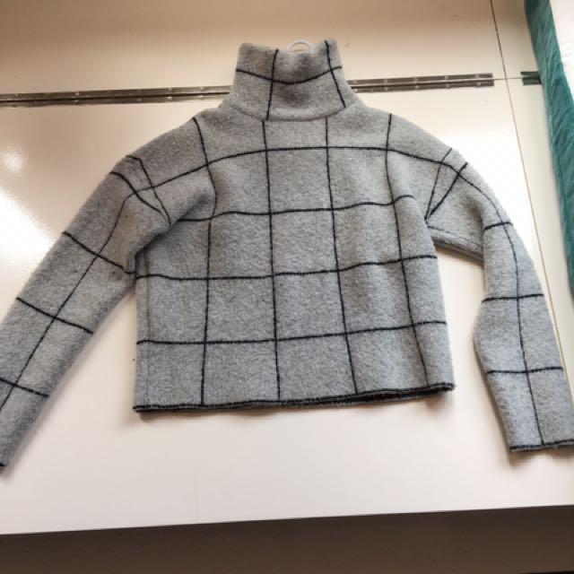 Grey striped turtleneck jumper