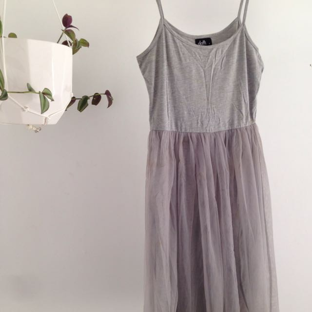 Grey Tulle Skirt Dress Size 8