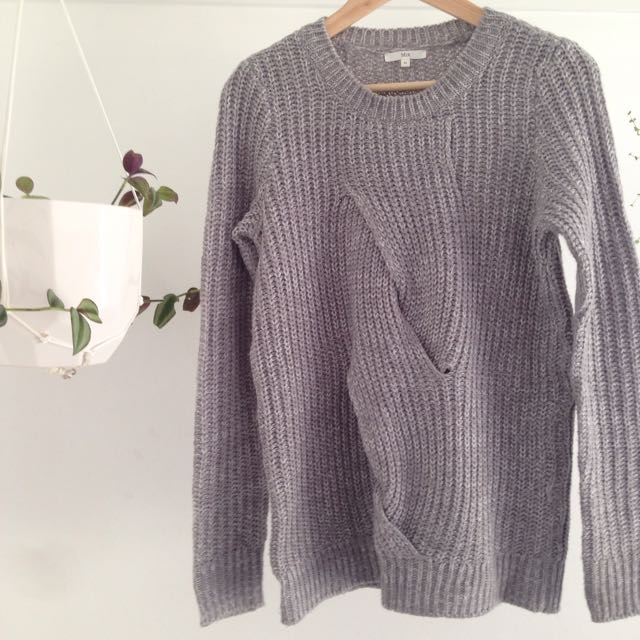 Grey Twist Knit Sweater / Jumper Size XS
