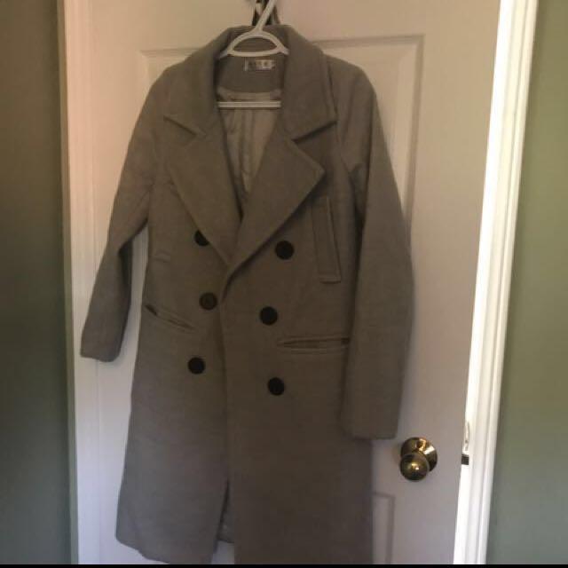 Grey wool winter / fall Coat (peacoat)