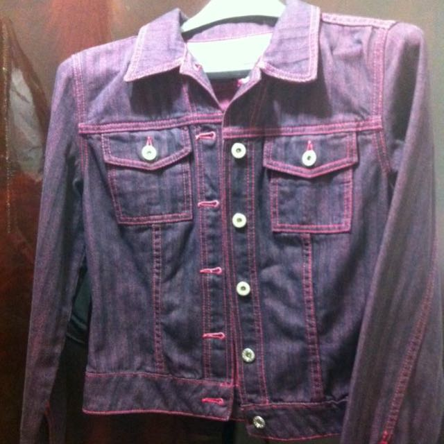 Guess purple washed denim jacket Small