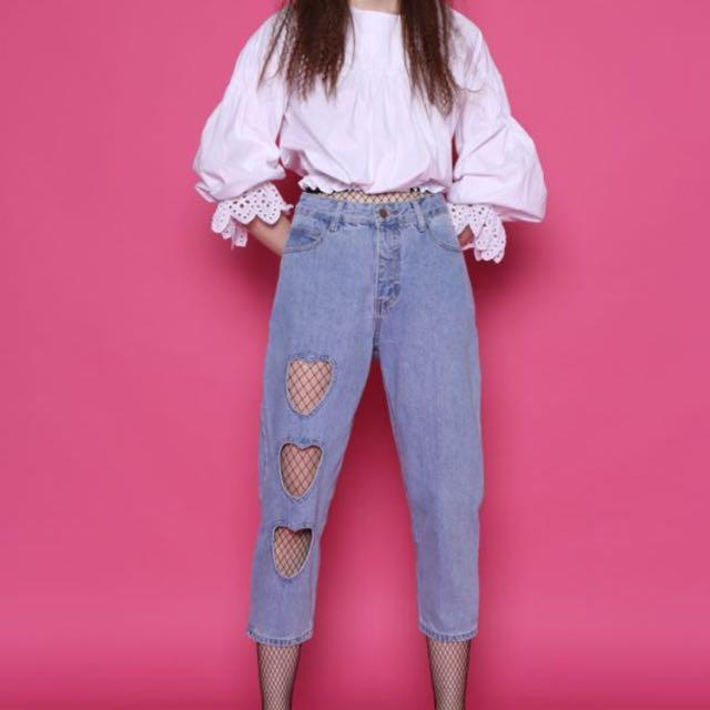 962fb053990 Heart cutout high waist Boyfriend jeans