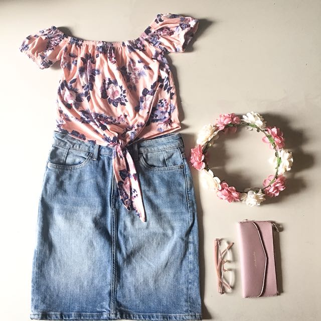 H&M Denim Skirt and Floral Crop Top
