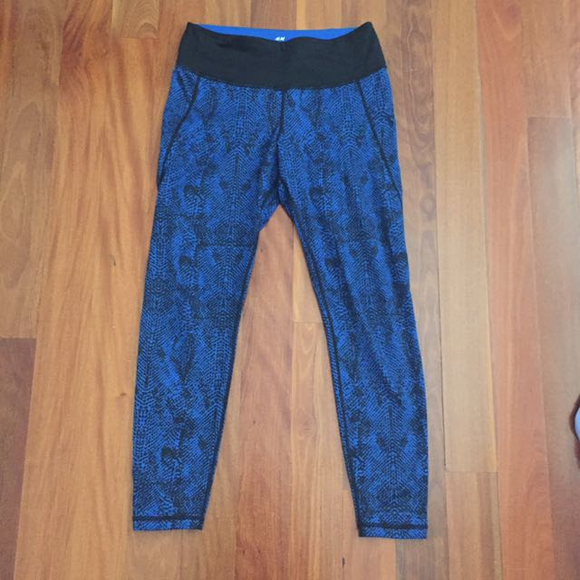 0cd39b4622 H&M Sport Black/Blue Leggings Size S, Sports, Athletic Clothing on ...