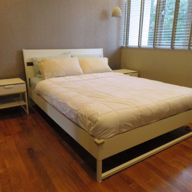 IKEA Trysil bed frame, side tables and mattress, Furniture, Beds ...