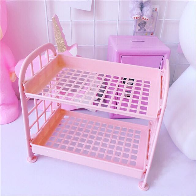 (現貨❕)ins韩風chic少女心粉色可愛桌面收纳架置物架多層化收纳盒收纳筐