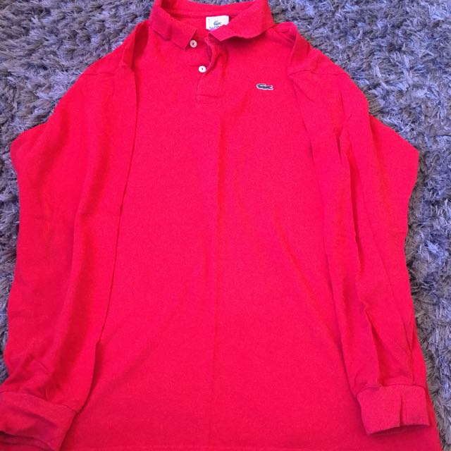 Lacoste Red long sleeve SizeM