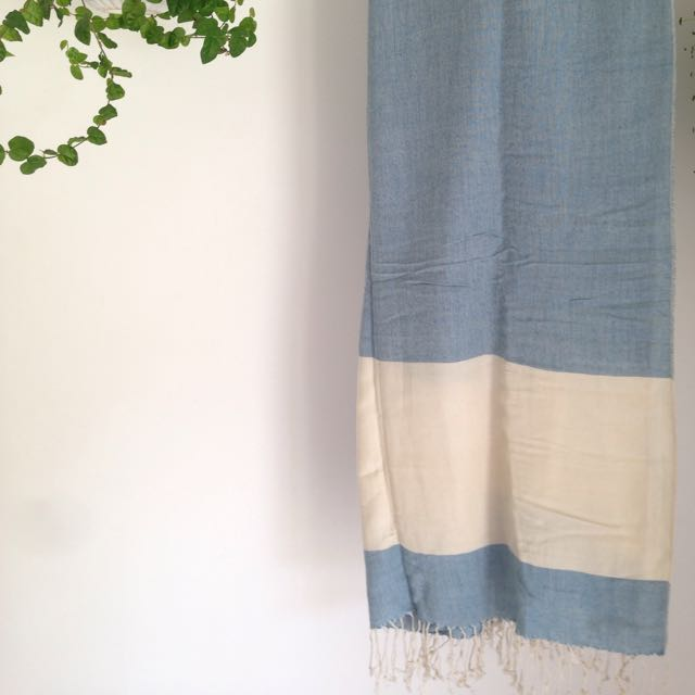 Light Blue & Cream Pashmina Scarf
