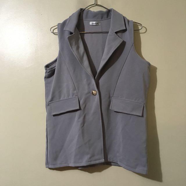 Modish Branded Gray High Quality Collared Vest Blazer Large Size Office Wear Office Attire Sleeveless