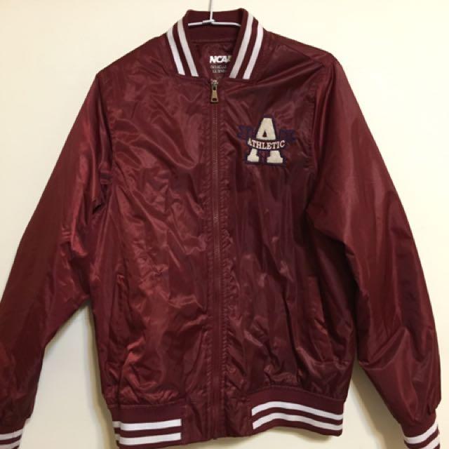 NCAA Athletic 酒紅 棒球外套