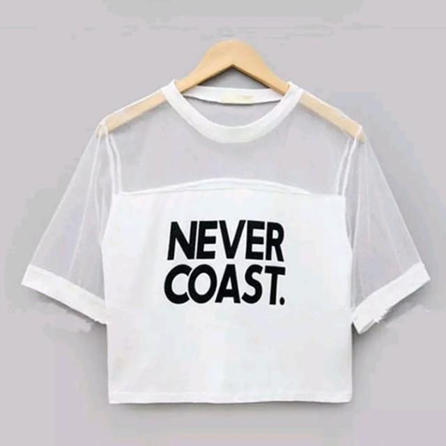 Never Coast shoulder mesh crop top