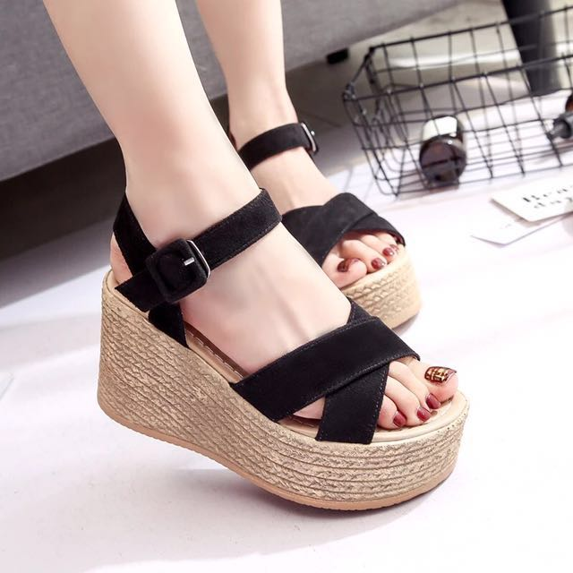 New Black Strap Wedges