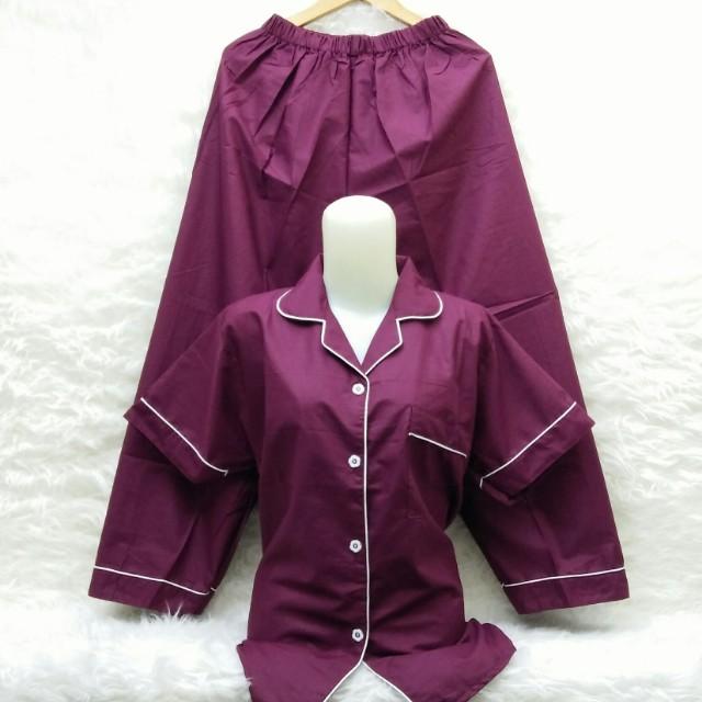 Piyama katun warna maroon