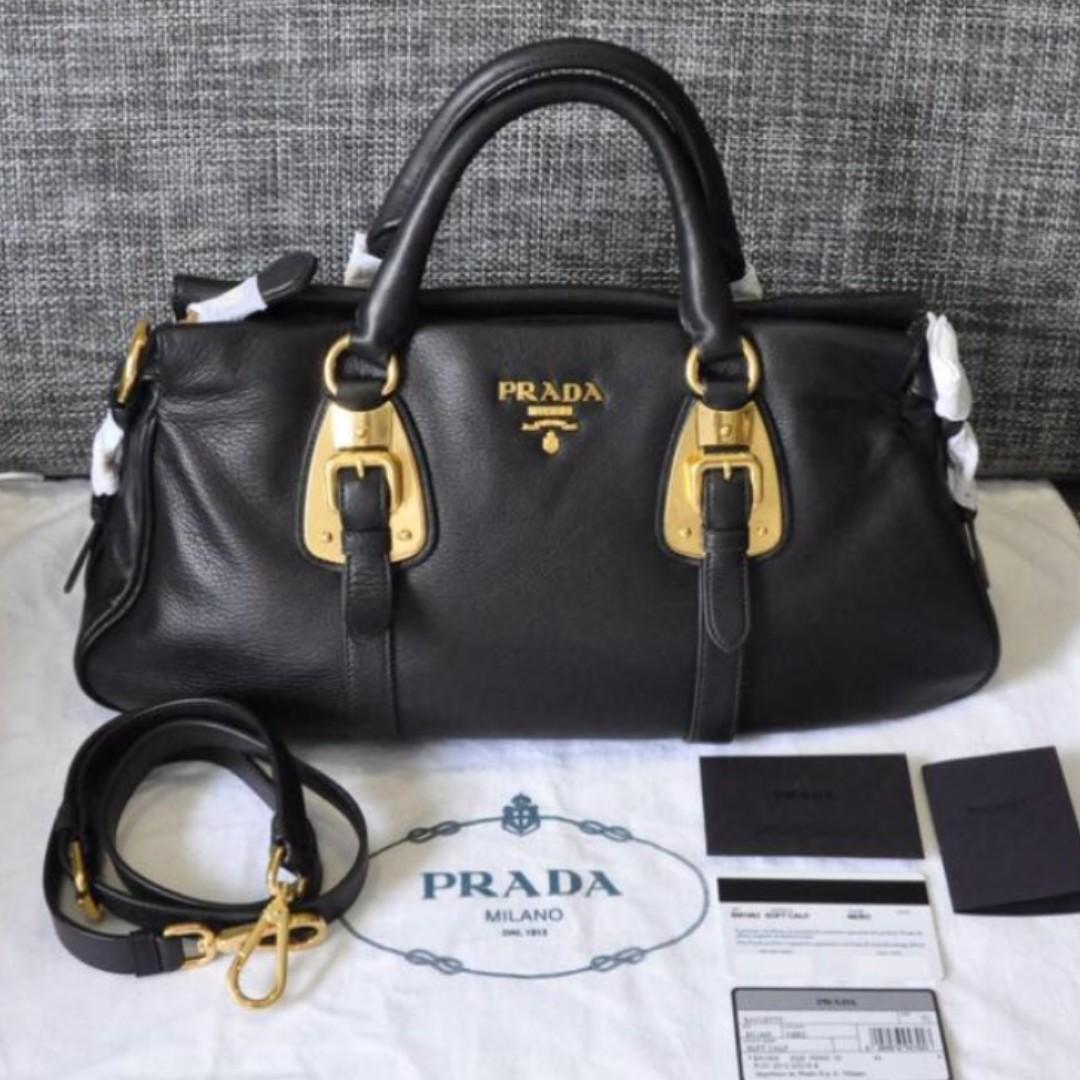cc4b4a6d446cd5 Prada Bauletto Soft Calf Bag BN1903 Full Leather!, Women's Fashion ...