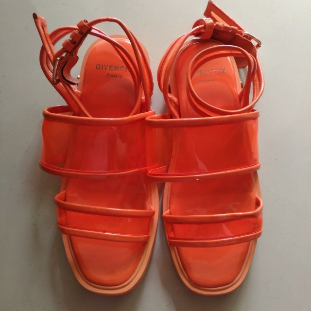 Preloved Givenchy Orange Plastic Gladiator Sandals (Authentic / Ori)