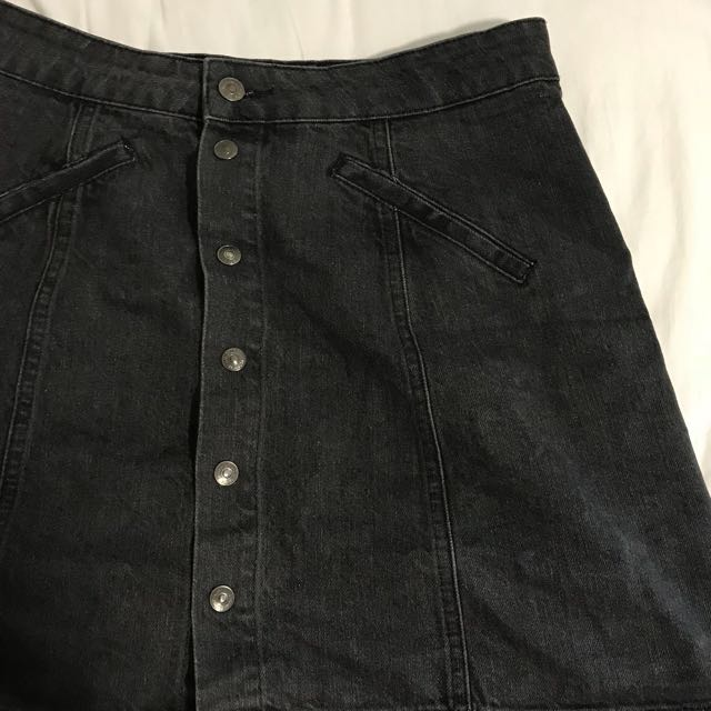 Pull&Bear Black Distressed Wash Denim Skirt