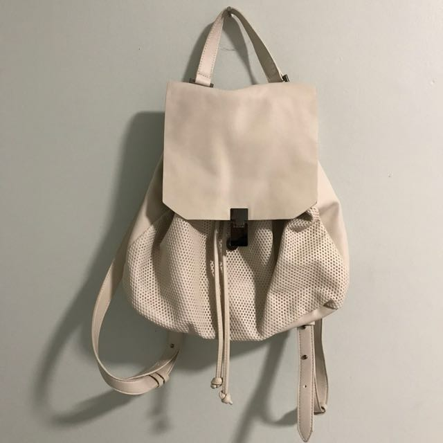 Pull&Bear Bone White Pleather Tote Backpack with Pleather Mesh Detail