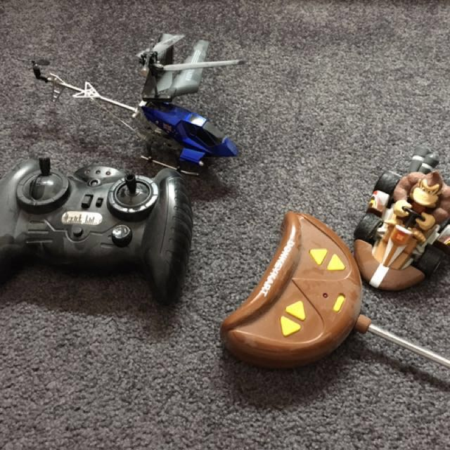 Remote controlled helicopter and donkey kong kart