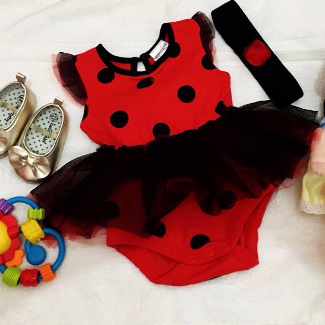 REPRICED: Lady Bug Onesie with Headband for Baby Girls, 6mos