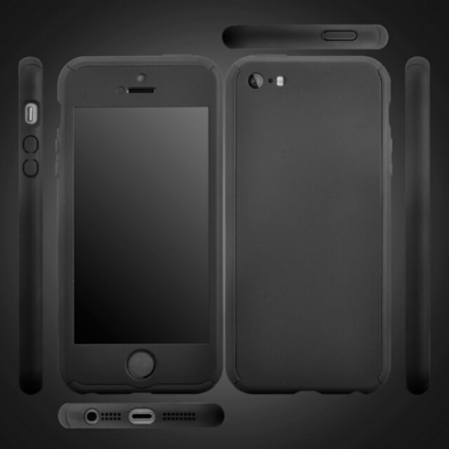 buy popular e19c9 6a228 CASING Roybens 360 Degree Full Body Protect Hard Slim Case Cover with  Tempered Glass for iPhone 5/5S/5SE (Black)