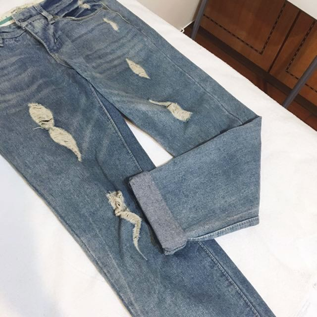 ,,Sassy 🐧牛仔刷破反折男友褲,, #長褲特賣