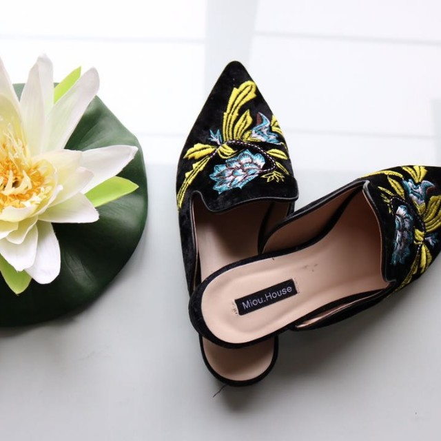 Size 7 Embroidered Mules