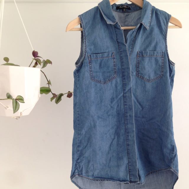 Sleeveless Denim Button Up Shirt