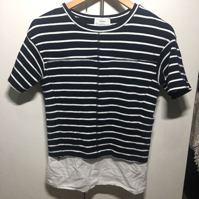 Striped shirt with inner lining effect