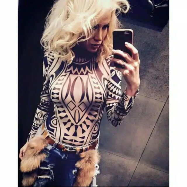 SUPER STYLISH BODYCON TATTOO TOP