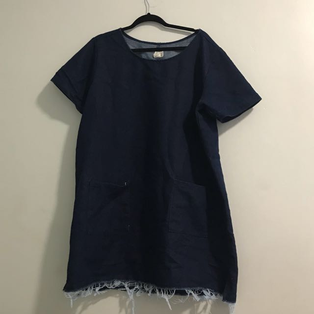 Urban Outfitters Urban Renewal Dark Blue Denim Dress with Distressed Bottom