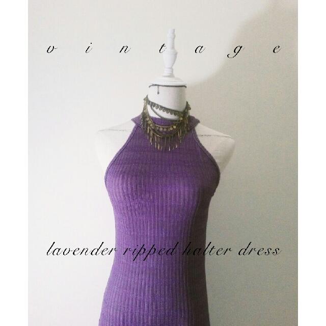 ✦VINTAGE ✦ Soft Lavender Ripped Halter Neck Dress ✦