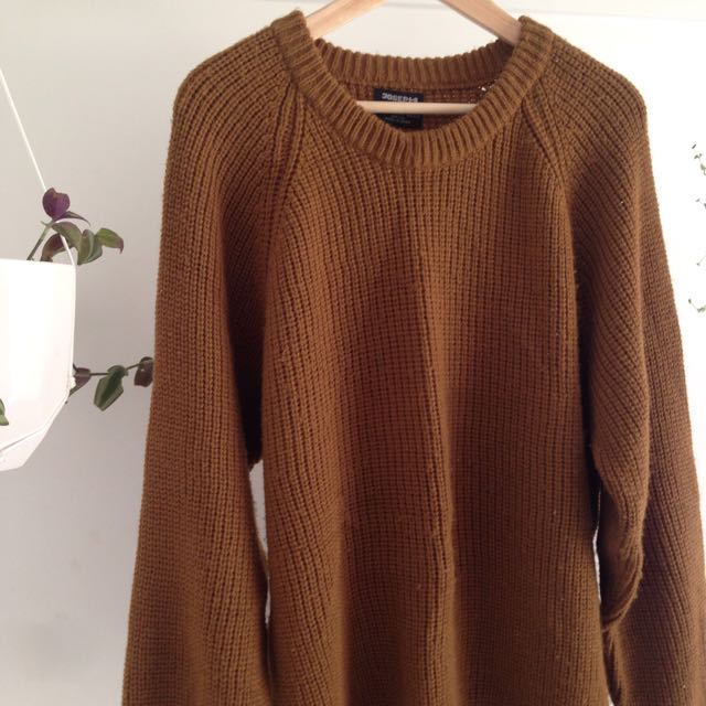 Vintage Mustard Brown Knit Jumper / Sweater